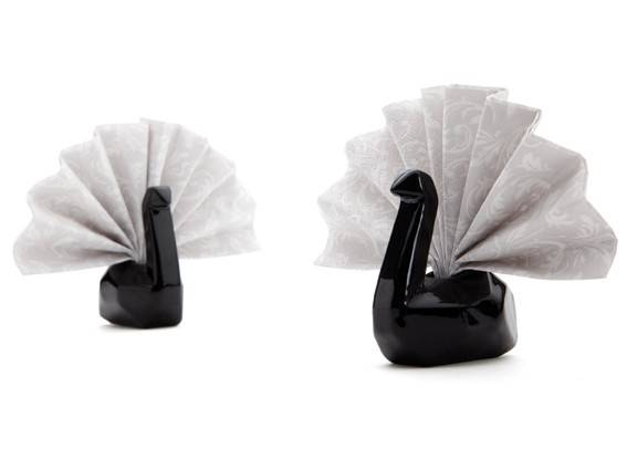 Image of   Servietholder - Napkin swans (Sort)