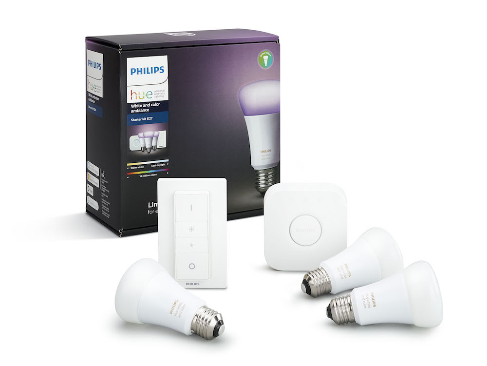 Image of   Philips Hue White and Color Ambiance startkit (3 pærer, 1 bridge og 1 trådløs kontakt), 10W, A60, E27