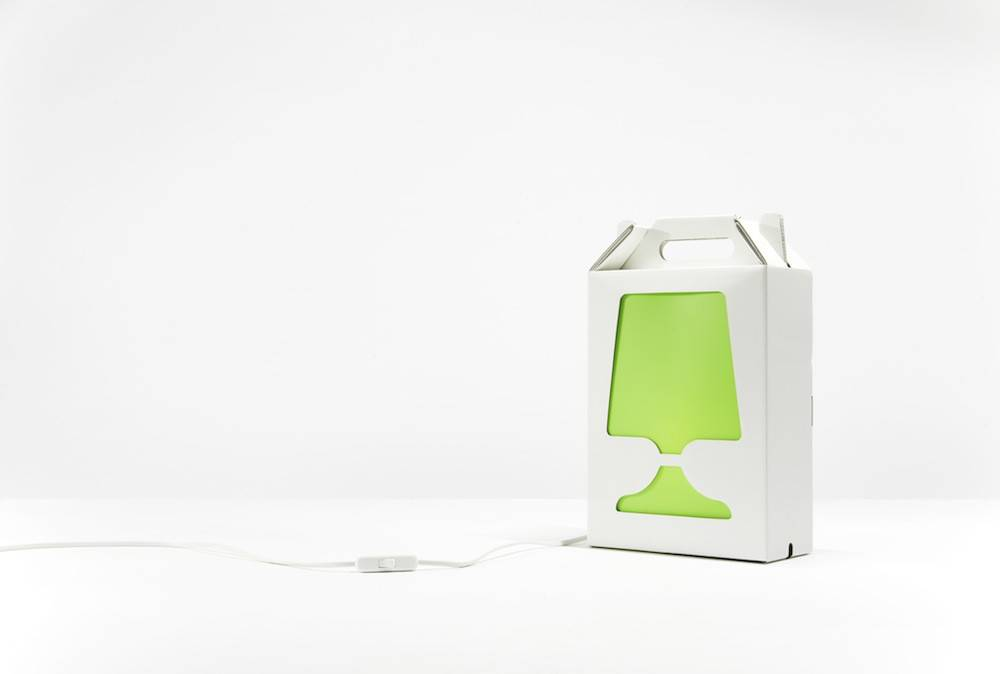 Image of   Flamp - bordlampe (Hvid/Lime)