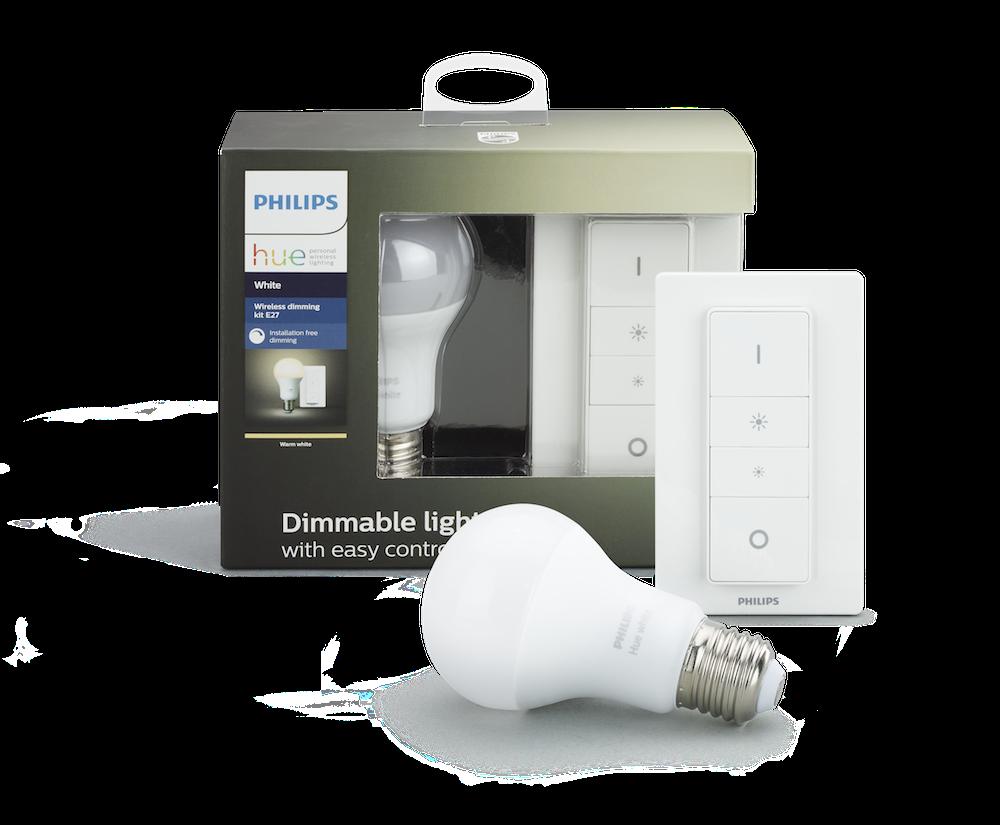 Philips Hue White lysdæmper kit (Pære og afbryder) - 9.5W, A60, E27 thumbnail