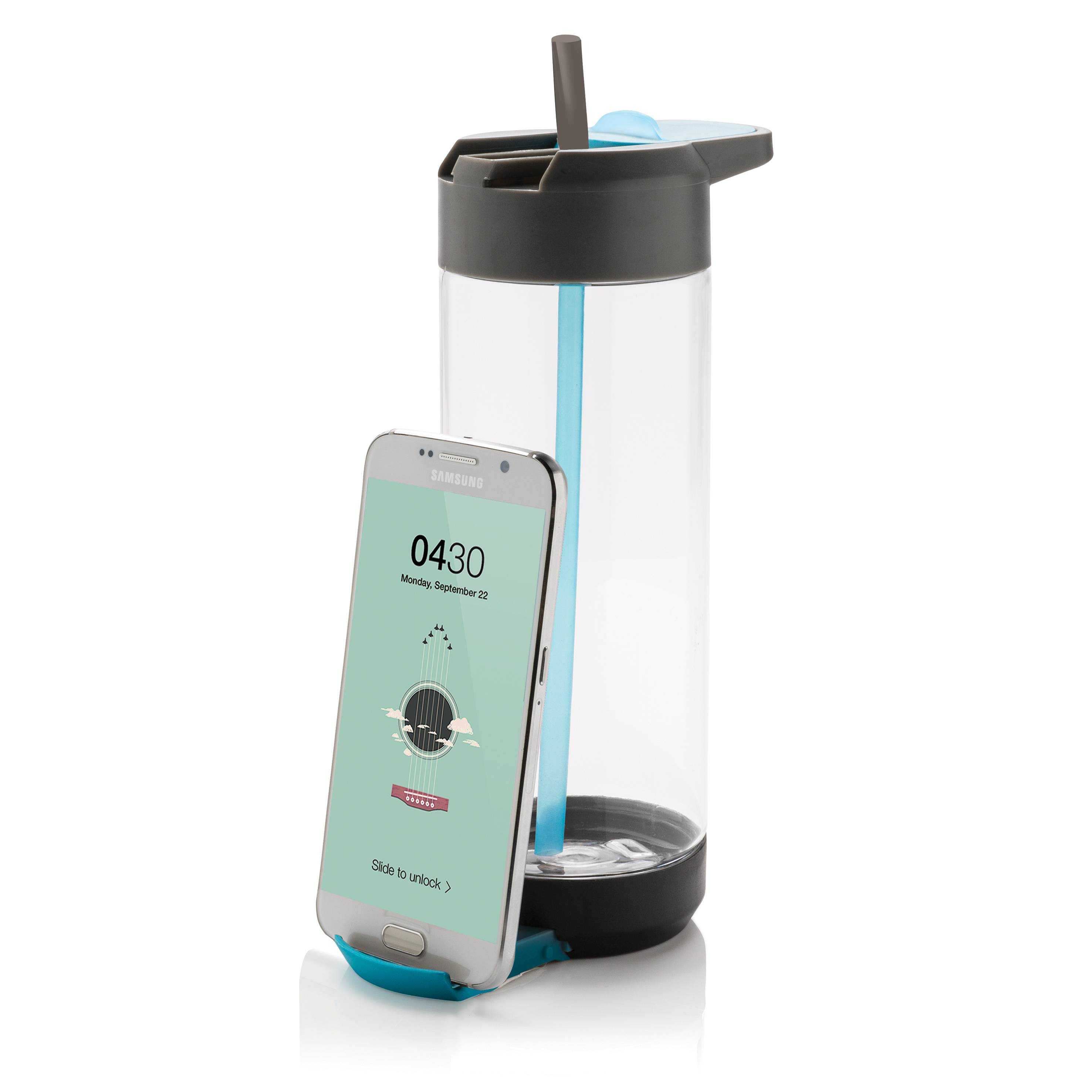 Image of   Drikkedunk med telefonholder - Tritan bottle (Blå)